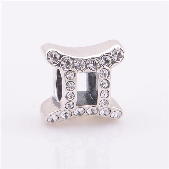Лаки знак 925 чистое серебро Jewerly весы спейсерной бусины с камнями камни подходят европейский подвески-талисманы браслеты для женщины своими руками