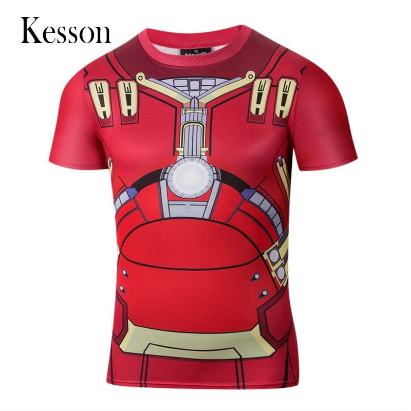 Sport Iron Man 3d T Shirt 2016 Summer Casual Compression Red T-shirt Men New Fitness Men's Gym Clothing Short Sleeve Polyester(China (Mainland))