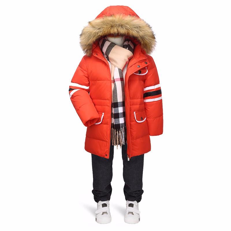 Скидки на Высота 105-140 см Chidlren зимняя куртка для мальчиков детские зимние куртки Мальчик пуховик верхней одежды пальто с мехом воротник C22