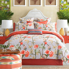 2016 New Dropship Home Textile 100% cotton Orange Floral American holiday 4 pcs bedding set bed sheet/duvet cover set king queen