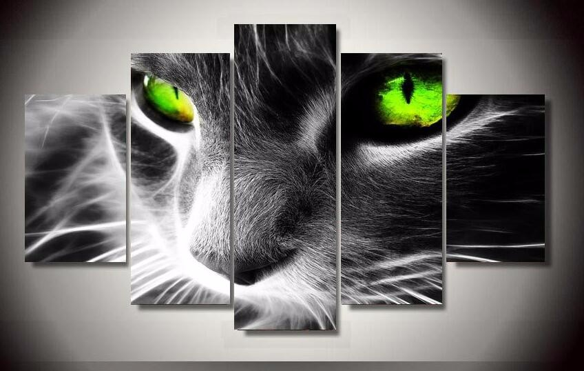 Newest Unframed 5 pieces canvas paintings black cat green eyes wall paintings for living room Modern Modular pictures