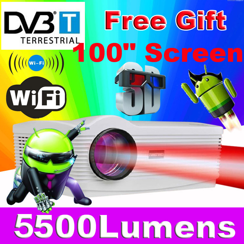 Free 100inch Screen ATCO Best Android 4.4 Wifi Smart DVBT Digital TV Proyector Beamer Led 3D Projector 1080P Full HD 5500Lumens(China (Mainland))