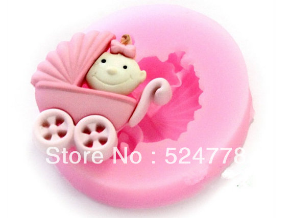 1ps New Soft Silicone Baby Stroller Chocolate mould Fondant mold Cake Toppers Mold Decorating - Yongkang JoinHot Import&Export Co., Ltd. store