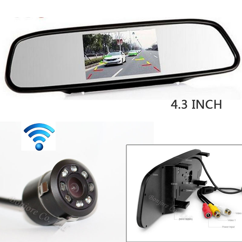 4 3 Screen LCD TFT Car Mirror Monitor Backup Reverse cam Night vision 8 infrared Night