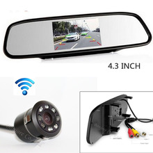 "4.3"" Screen LCD TFT Car Mirror Monitor Backup Reverse cam Night vision 8 infrared Night vision Rear View Camera Parking System"