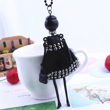 Women Ladies with Rhinestone Dress Doll Necklace plush cloth long stylish sweater chain jewelry accessories free