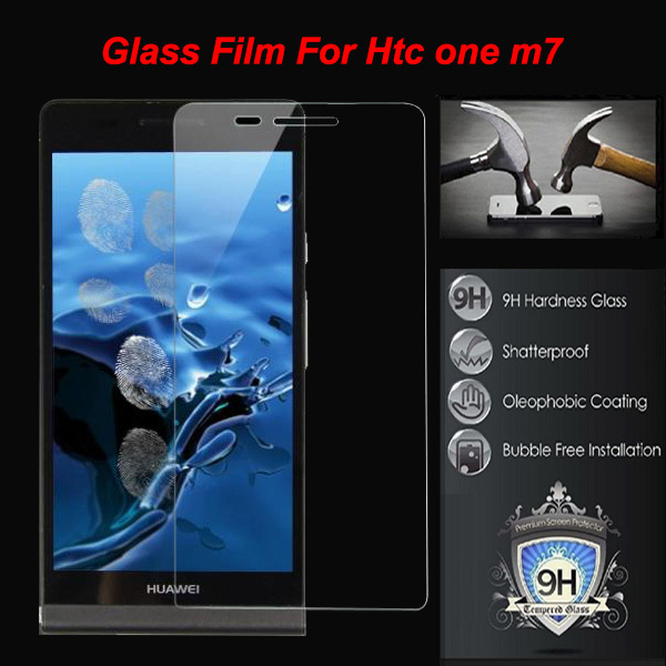 0.26mm tempered glass screen protector applies to HTC ONE M7 802T steel explosion-proof membrane ultra silm protective film(China (Mainland))