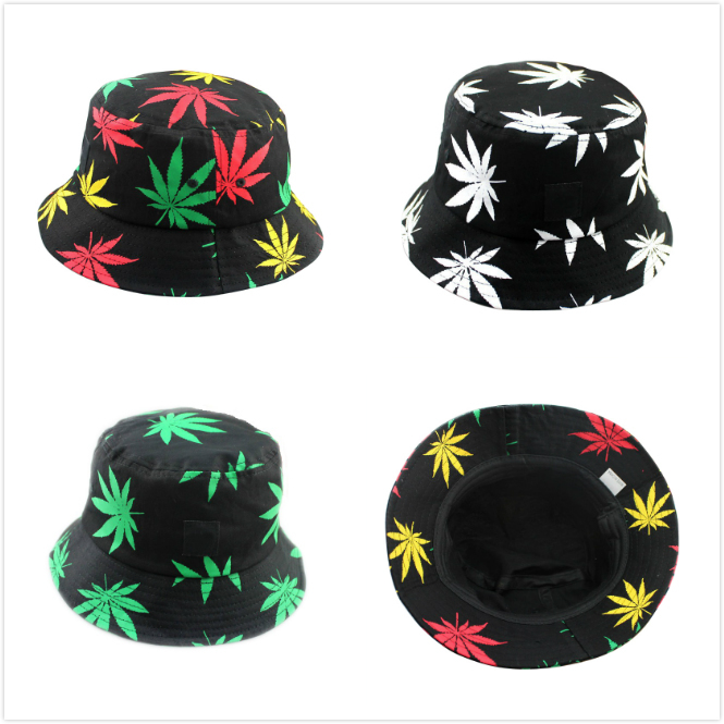 Free Shipping 2015 Fashion Maple Leaves Bucket Hat Spring Women Casual Printing Fishing Hat Great CA Style Caps(China (Mainland))