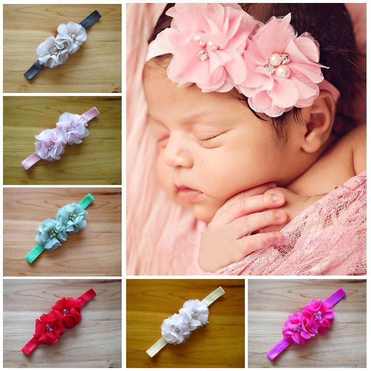 Fashion Baby Girl Toddler Infant Elastic flowers Headbands Baby paerl Rhinestone headband Hair Band Accessories(China (Mainland))