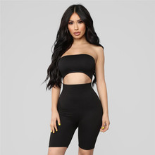 SEXEMARA 2018 Sexy Rompers Womens Jumpsuit Pink Party Club Backless sin tirantes recorte Bodycon vendaje monos Shorts Playsuit(China)