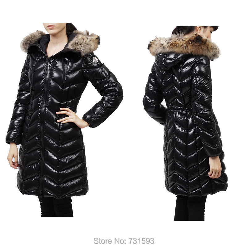 Hotsale Fashion Warm 100% Genuine Women's Winter Long Slim Goose Coat Fur Hooded Black - Style Shopping store