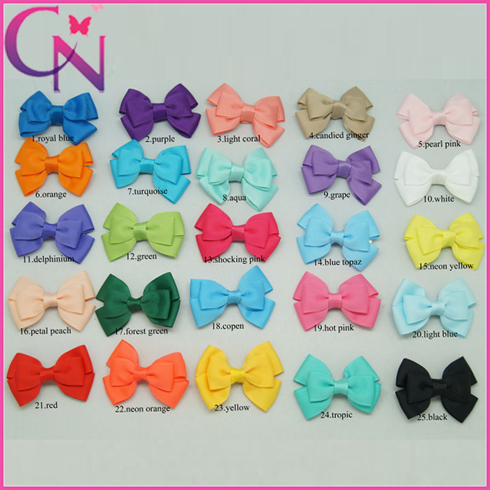 Hair Bows With Barrette,Solid Grosgrain Ribbon Baby Hair Accessories,Baby Girls' 25 Color Boutique Multi Layers Hair Clip(China (Mainland))