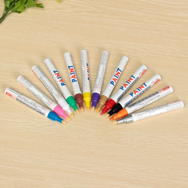 1pcs Brand New Colorful Permanent Paint Drawing Pen Car Outdoor Marking Ink Marker 12 Colors Fit For Painting(China (Mainland))