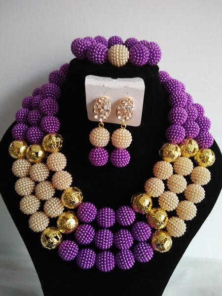Fashion African beads jewelry set purple Imitation pearl beads bride jewelry nigerian wedding african beads jewelry Set G-202<br><br>Aliexpress