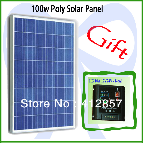 PV solar panel kits 100w poly crystalline solar cell module + ship one 10A 12V 24v charge controller as gift(China (Mainland))
