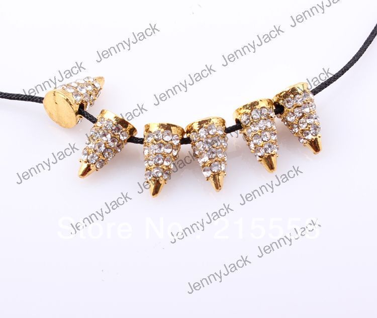 Free Shipping 100Pcs/lot Rock Punk Shamballa Spike Rivet Crystal Pave Metal Bullet Spike Beads Charm Fit For DIY Jewelry<br><br>Aliexpress