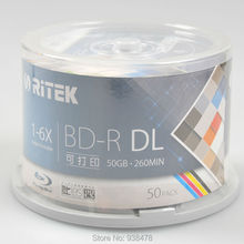 50pcs Blu-ray BD-R 50GB Dual Layer DL Blank Disc 1-6X Inkjet Printable Spindle Pack Bluray Write Once 12cm White Cover(China (Mainland))
