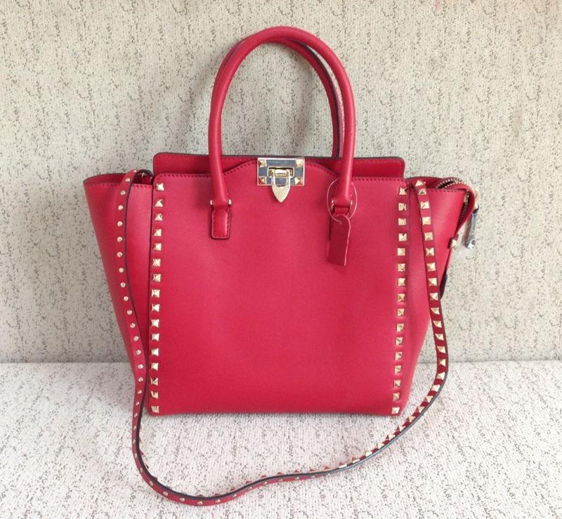 New arrival women fashion handbags swift box genuine Italy calf leather V rivets rockstud large tote(China (Mainland))