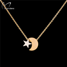 Stainless Steel Gargantilha Silver Gold Plated Tattoo Choker Chain Star Moon Necklaces Pendant For Women Lovers Bridesmaid Gifts(China (Mainland))