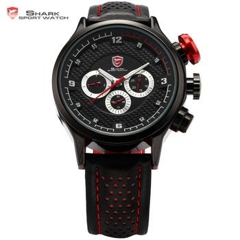 Genuine SHARK 6 Hands Date Day 24 Hours Display Stainless Steel Case Leather Black Silver Wrist Men's Sport Quartz Watch / SH084
