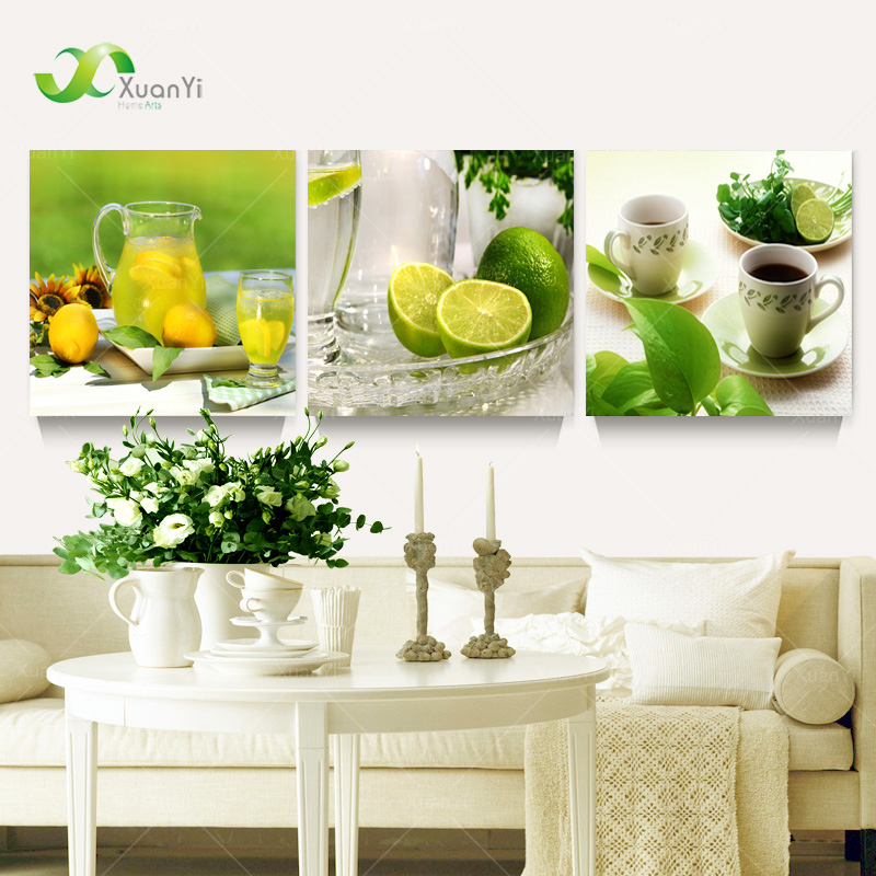 Home Kitchen Decor Picture Fresh Fruit Salad Wall: 3-Panel-Modern-Printed-Fruits-Lemon-Painting-Picture-On