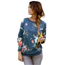 New Women Hoodies Vintage Floral Print Long Sleeve O-Neck Cotton Sweatshirt Casual Pullover Tops Sports Tracksuit Blouse Jumper(China (Mainland))