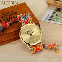 Aliosha 13 colores cuerda trenzada pulsera de ginebra relojes hecho a mano de la amistad para relojes de cuarzo oro mira venta al por mayor