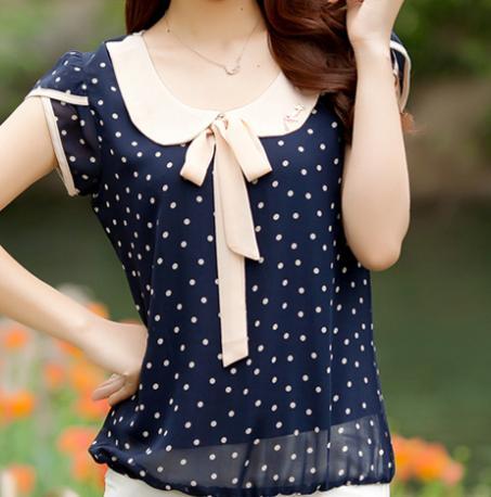 2015 Women Dress Summer Chiffon Vestidos blusas Blouse Bow Dot Short Sleeve Lace Blouse Loose Plus Size(China (Mainland))