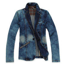 Spring 2015 mens fashion blazer mens retro cowboy suit washing a single row buckle long-sleeved denim jacket men(China (Mainland))