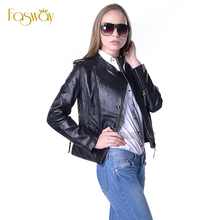 Factory Real Natural Sheep Skin Genuine Leather Jacket Women Fashion Slim Short Ladies Coat Female Jaqueta Spring Autumn ZH034(China (Mainland))