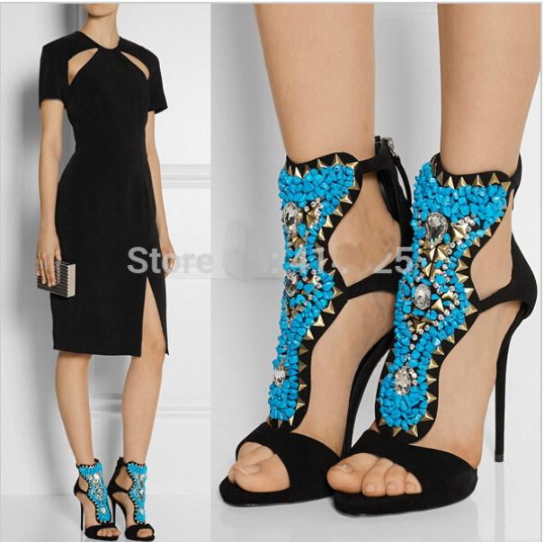 Short Summer Boots Embellished Suede Shoe Shiny Stilettos Ankle