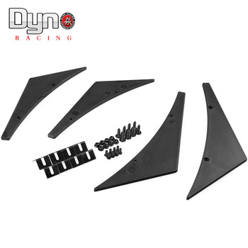 Dyno racing Universal Fit Front Bumper Lip Splitter Fins Body Spoiler Canards Valence Chin
