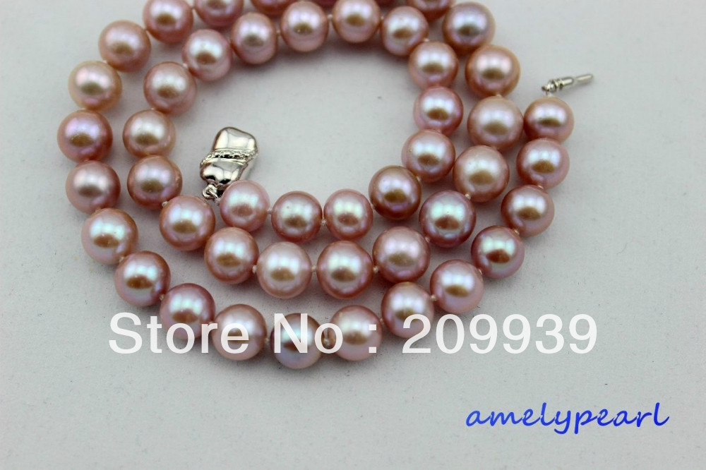 huij 001720 fresh water pearl necklace 9-10mm Natural purple Good Quality 17.5INCH<br><br>Aliexpress