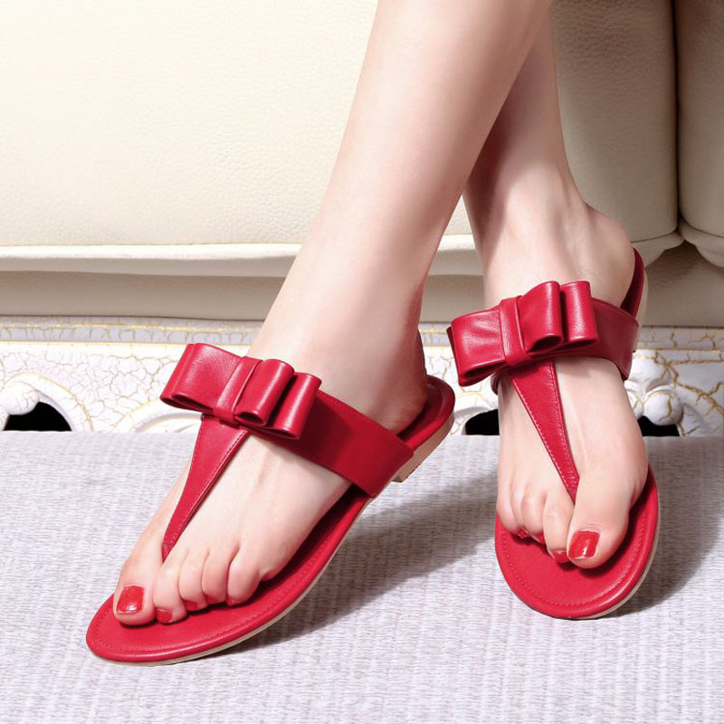 2016 in the summer, the new flat bottomed slippers and the trend of the butterfly knot beach sandals slippers women<br><br>Aliexpress