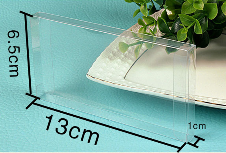 20pcs 1*6.5*13cm Wedding PVC Box clear Gift Craft cosmetic display box small Jewelry packing holder Transparent plastic box(China (Mainland))