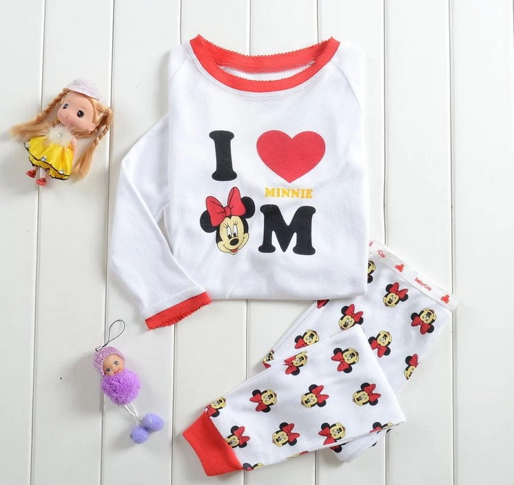 2014 Children boys girls kids Clothing clothes Sets suits 2 pcs sleepwear long sleeve pajamas cartoon 100% cotton tiger minnie