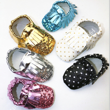 6colors Better quality Bulk sell 180 pairs Soft sequin Leather Baby girls Shoes Moccasins Eco Friendly big order wholesale(China (Mainland))