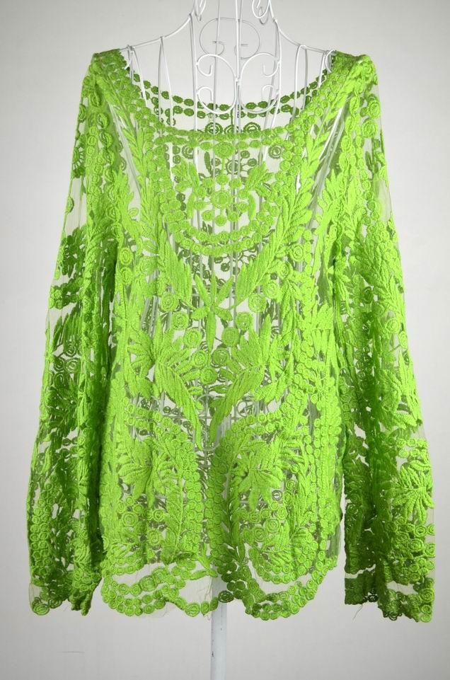 Hot Sale New 2014 Spring Fashion Long Sleeve Tops Women Hollow Out  Lace Cotton Blouse Shirt Plus Size XXXL Blusas Femininas