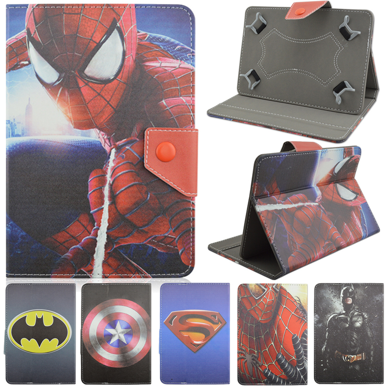 Universal PU Leather Stand Case Cover Spiderman Batman Superman For 8 inch Android Tablet Cases For Samsung Apple iPad Prestigio(China (Mainland))