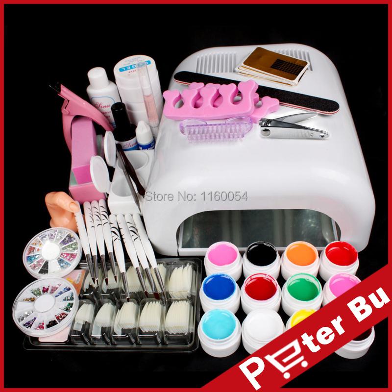 Новые Pro 36 Вт уф-гель белого огня и 12 цвет уф-гель ногтей инструменты устанавливает комплекты nail-гель ногти и инструменты лак для ногтей kit 233