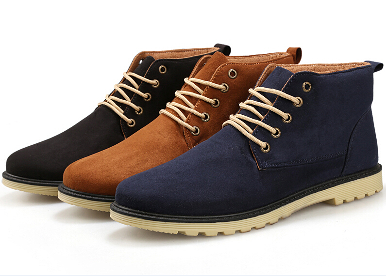 New 2015 PU Leather Men Boots Fashion Cotton Brand ankle boots Shoes men for Spring Autumn shoe(China (Mainland))