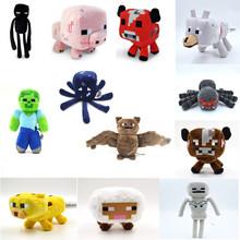 New Arrival Minecraft Plush Toy Enderman Ocelot Pig Sheep Bat Mooshroom Squid Spider Wolf Animal soft stuffed doll kids toy gift(China (Mainland))