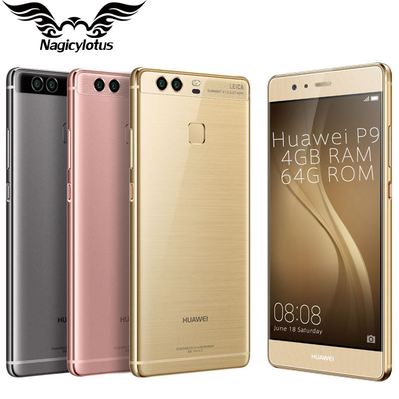 "Original HuaWei P9 Mobile phone Kirin 955 Android 6.0 5.2"" FHD 1080P 4GB RAM 64GB ROM Dual Back 12.0MP Camera 4G LTE Cell Phone(China (Mainland))"