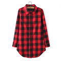 Women Spring Long Sleeve Plaid Blouses Shirts Double breasted Collar Red Black Check Cotton Long Top