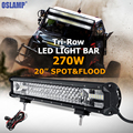 Oslamp 270W 20 CREE Chips LED Light Bar Offroad Tri row Spot Flood Combo Beam Led