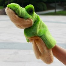 Candice guo! Super cute baby plush toy animal hand puppet green crocodile teaching game good for gift 1pc(China (Mainland))