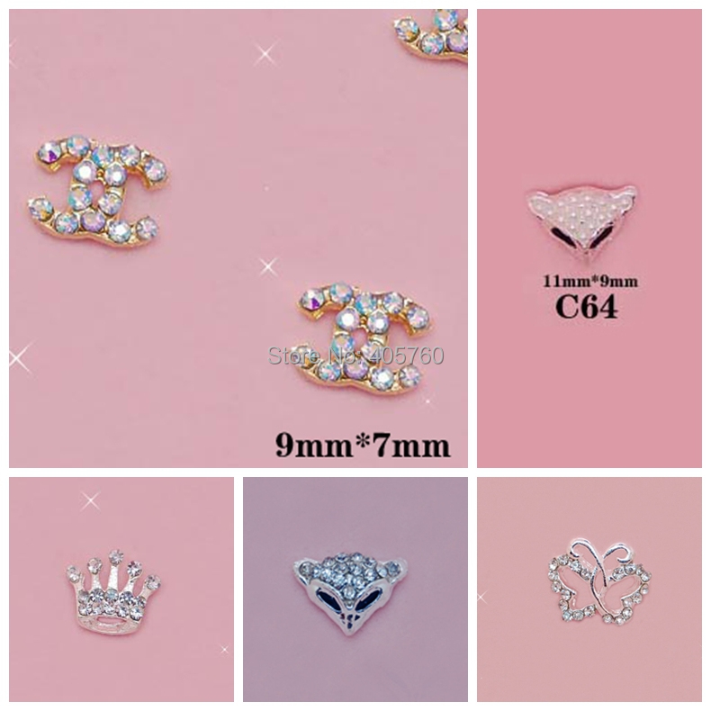 50 pieces Acrylic nail art ideas Bright Crystal 3D Alloy stickers for nail and Phone Decoration mix batch(China (Mainland))