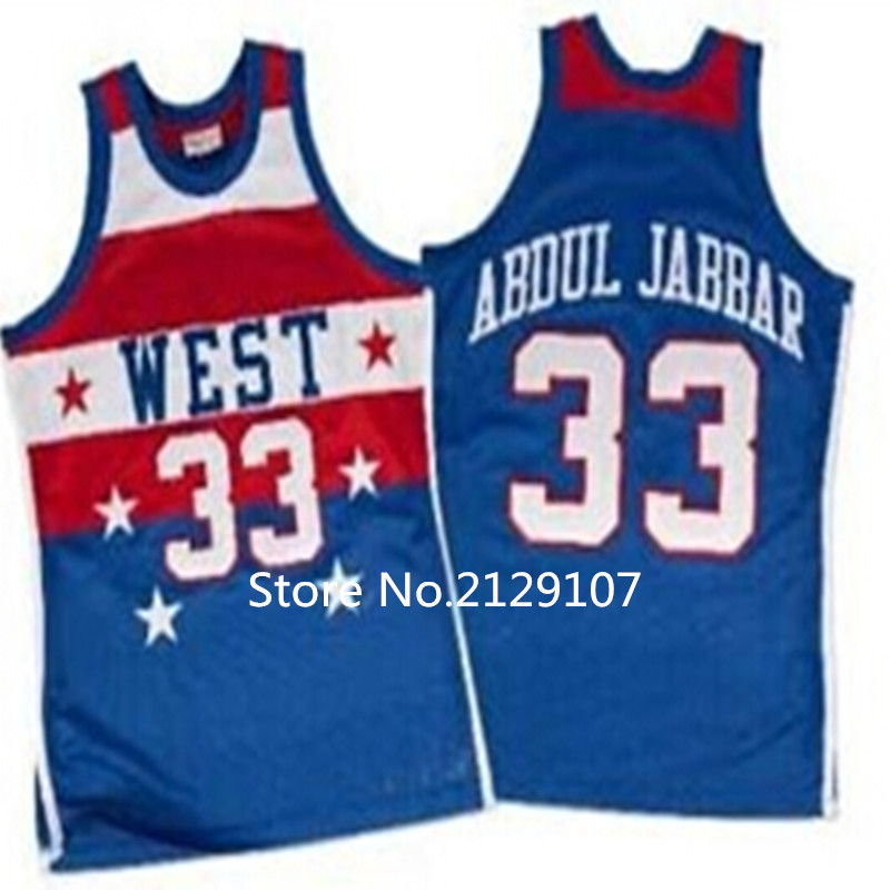Free Shipping # 33 Kareem Abdul Jabbar All Star Basketball Jersey 1980 All Star Customize any player name and number Size<br><br>Aliexpress
