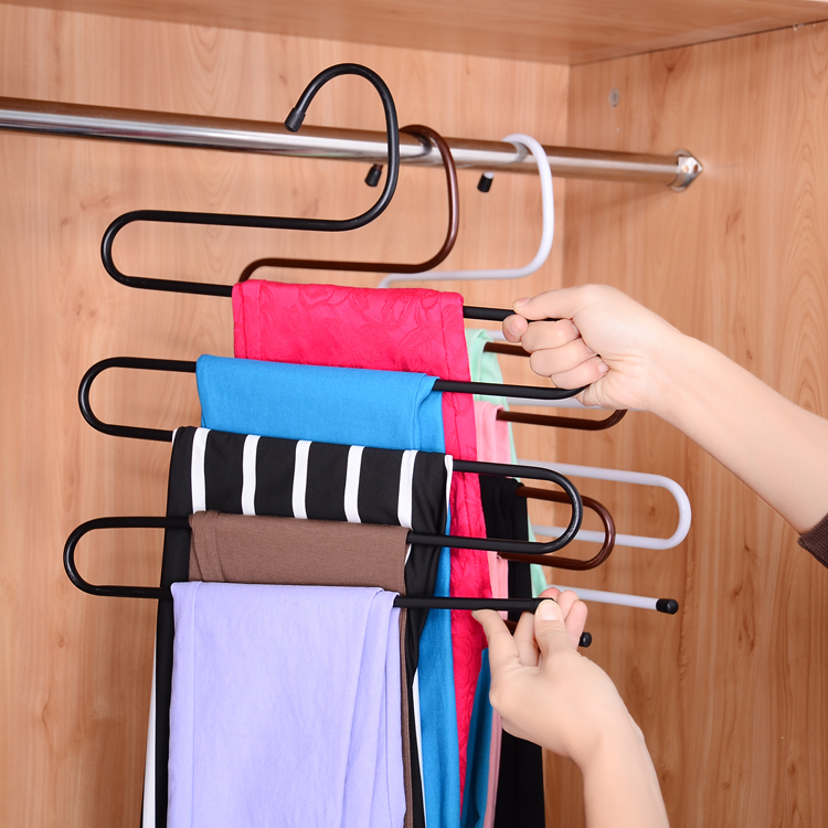 Hot Sell Magic Trousers Hanger/rack Multifunction Pants Closet Hanger Rack In One Practical and Convenient GJ140(China (Mainland))