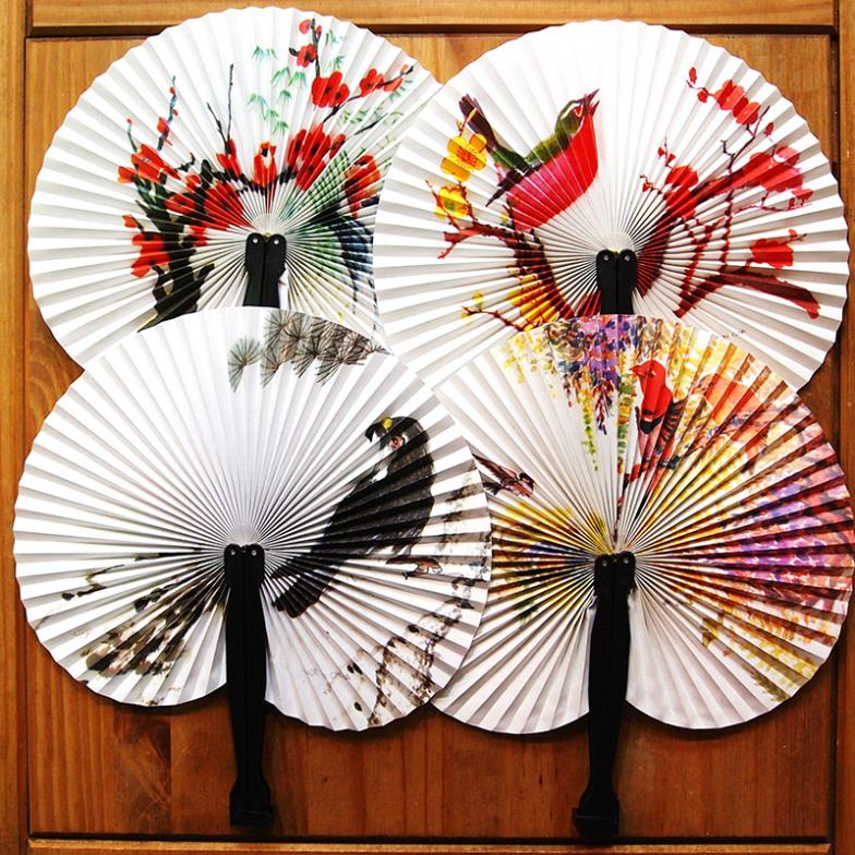 New Hioliday Sale Paper Hand Fan Folding Wedding Party Supplies Colorful Wedding Decoration # ZH224(China (Mainland))
